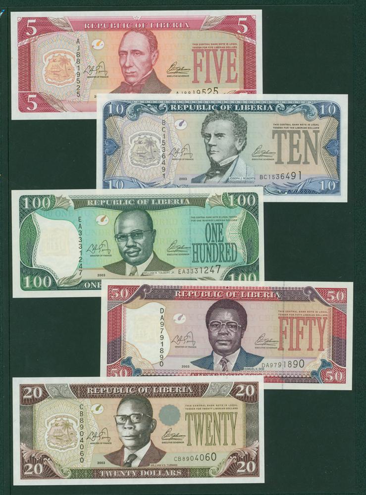 Liberia 2003 $5, $10, $20, $50 & $100