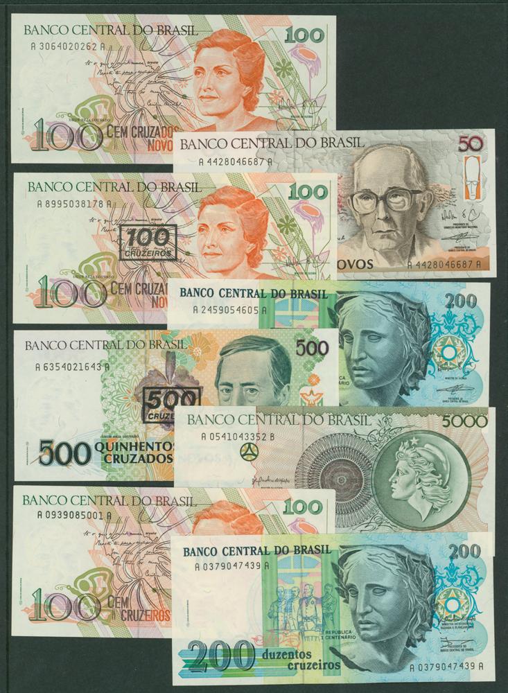 1989 100c, 1990 50 on 50c, 100 on 100c, 200 on 200c,  500 on 500c, 1990 5000c, 100c, 200c, 1000c,   5000c, 10,000c, 50,000c, 1992-93 100,000, 50,000, 100c on 100,000