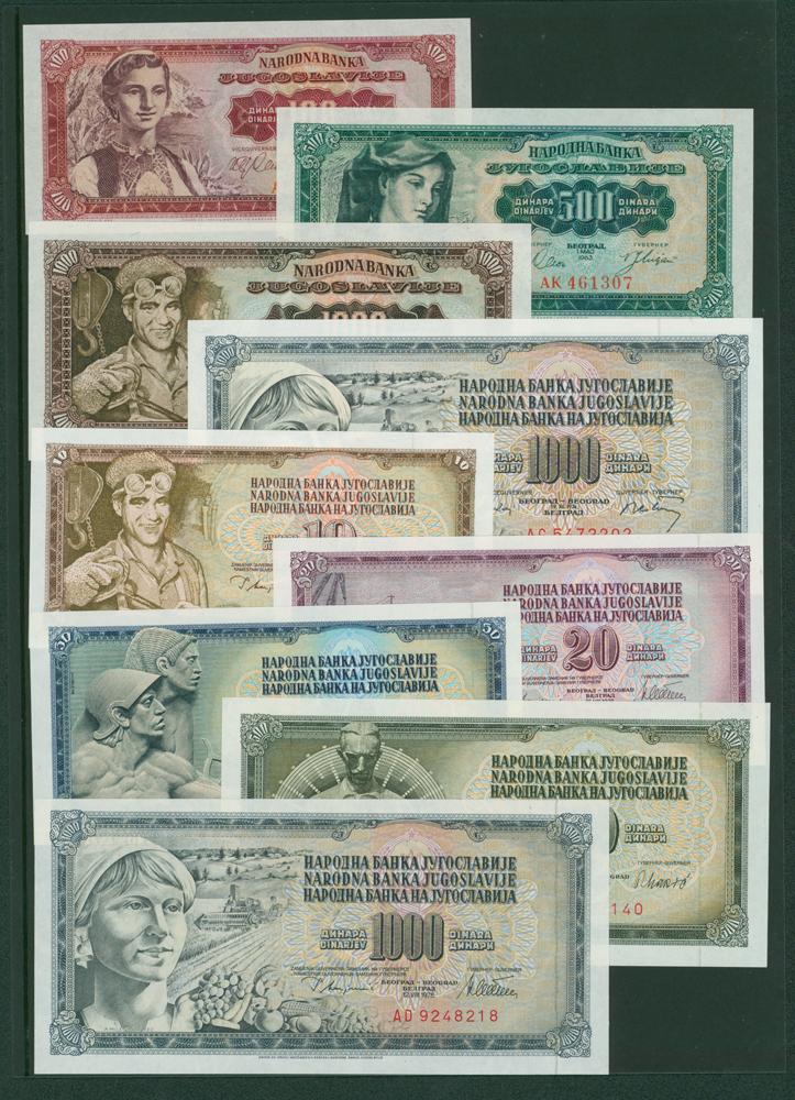 Yugoslavia 1963 100 Dinara, 500 Dinara, 1000 Dinara, 1974 1000 Dinara, 1978 10 Dinara, 20 Dinara, 50 Dinara, 1981 500 Dinara, 1978 100 Dinara