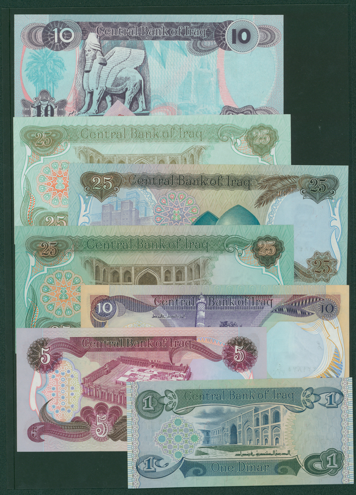 Iraq 1979 ¼ Dinar, ½ Dinar, 1 Dinar, 5 Dinar, 10 Dinar, 25 Dinar, 1992 5 Dinar, 10 Dinar, 50 Dinar, 100 Dinar 7 250 Dinar, 2003 50 Dinar, 250 Dinar, 500 Dinar, 1000 Dinar & 5000 Dinar