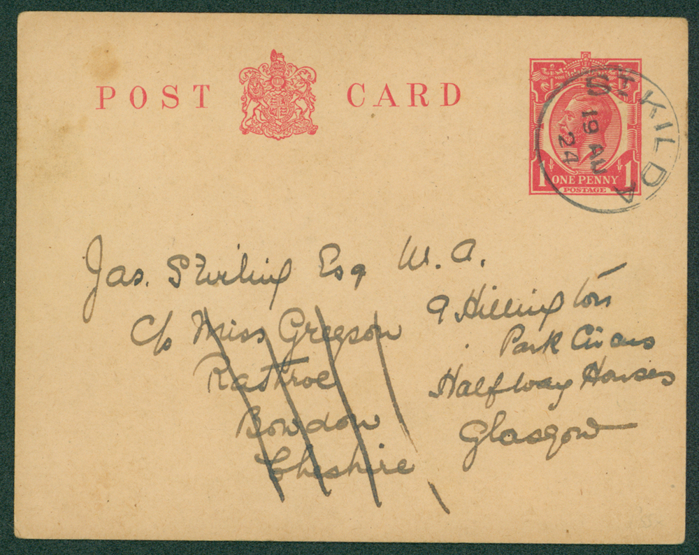 St. Kilda, Scotland 1924 1d KGV stationery postcard from St. Kilda to Bowdon, Cheshire then re-addressed to Halfway House Glasgow