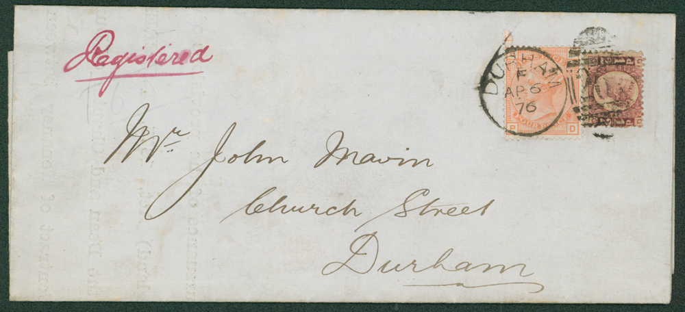 1876 reg cover used locally in Durham, regarding the 'Agricultural Holdings Act'