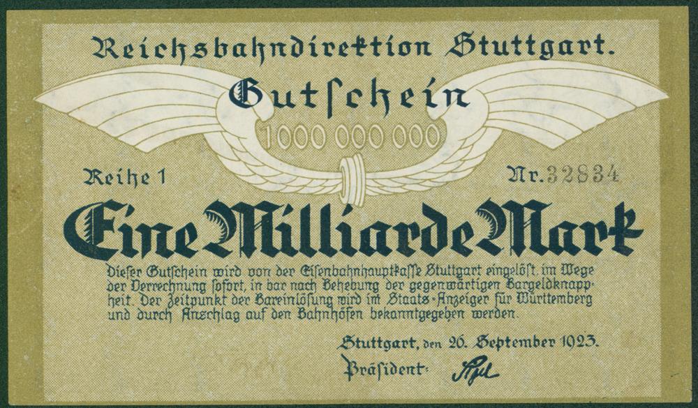 Germany - Notgeld 1923 Stuttgart Eine Milliarde Marks