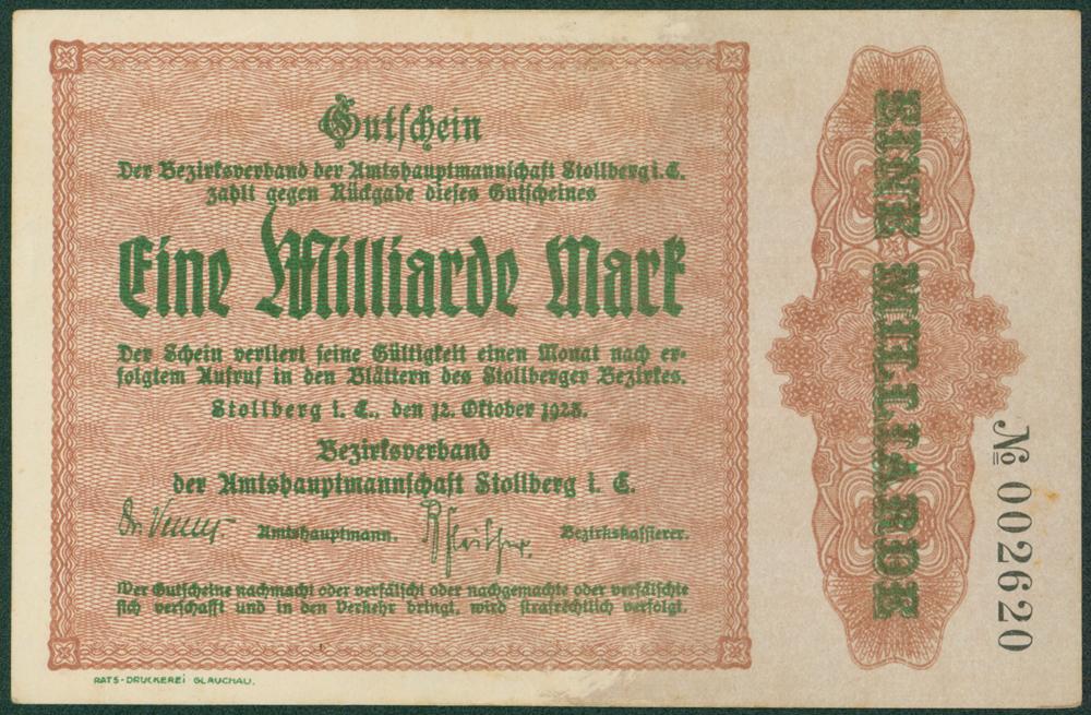 Germany - Notgeld 1923 Stollberg Eine Milliarde Marks