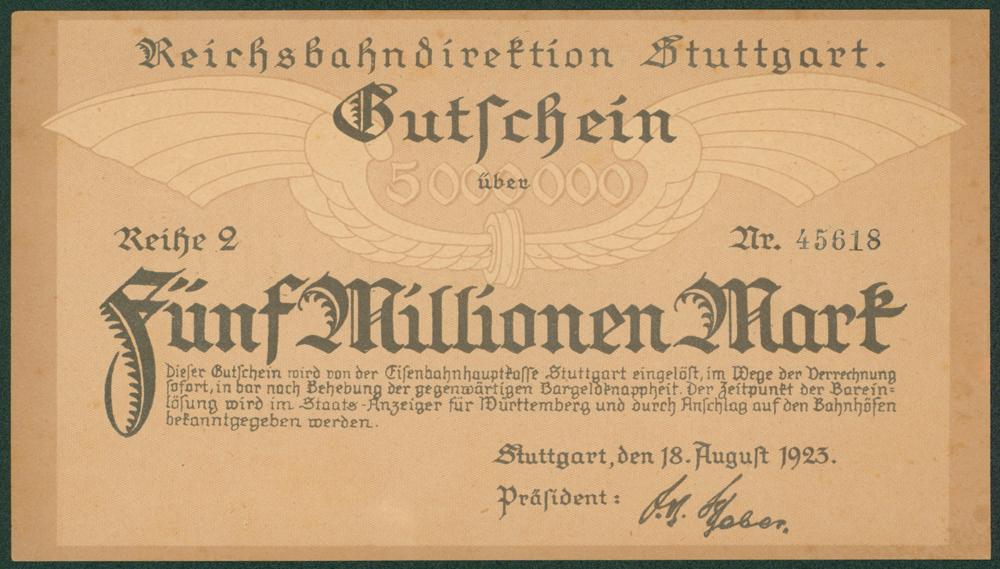 Germany - Notgeld 1923 Stuttgart Funf Millionen Marks