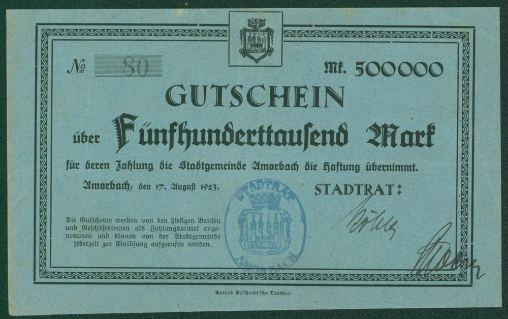 Germany - Notgeld 1923 Amorbach 500,000 Marks