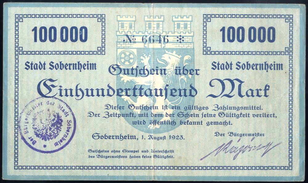 Germany - Notgeld 1923 Sobetrnheim 100,000 Marks