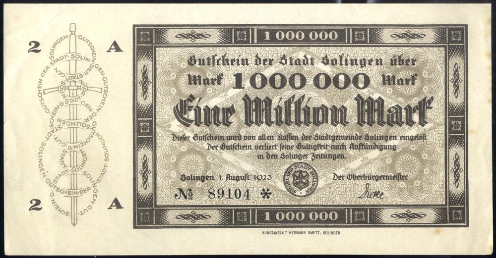 Germany - Notgeld 1923 Solingen Eine Million Marks