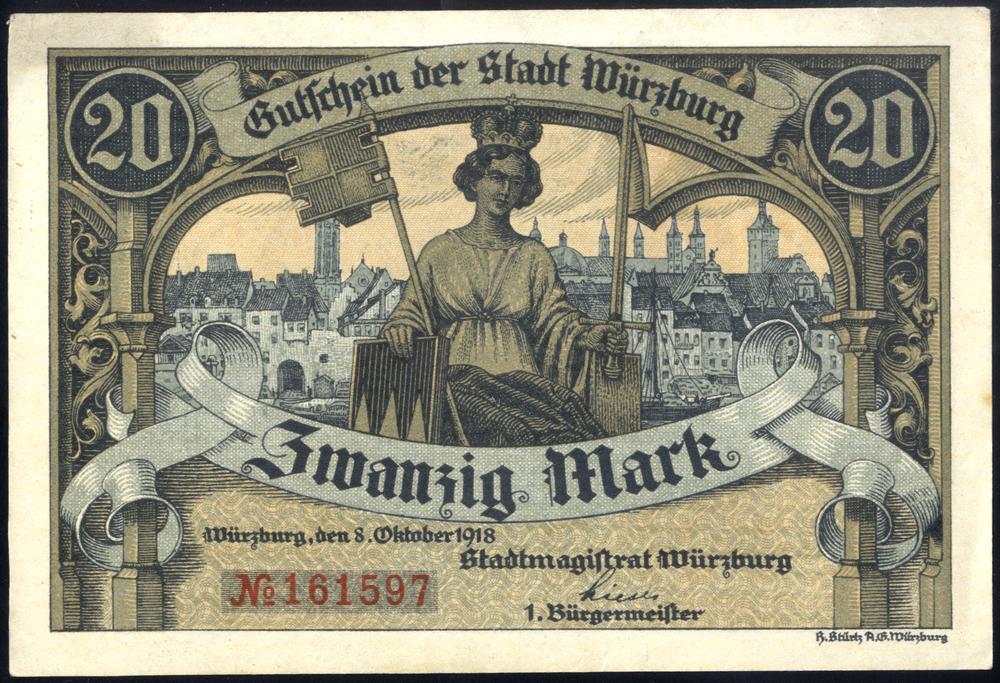 Germany - Notgeld 1918 Wurzburg 20 Marks