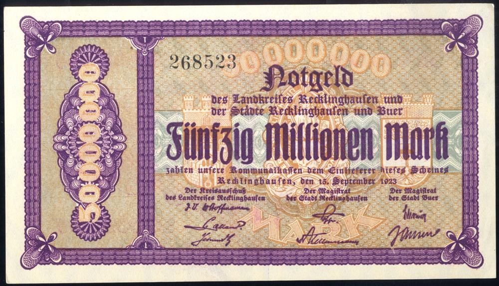 Germany - Notgeld 1923 Recklinghausen 50 Millionen Marks