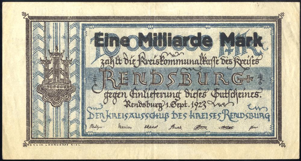 Germany - Notgeld 1923 Rendsburg Eine Milliarde Marks