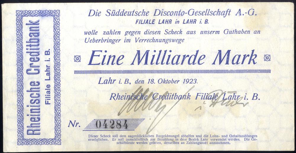 Germany - Notgeld 1923 Lahr Stains Eine Millioarde Marks