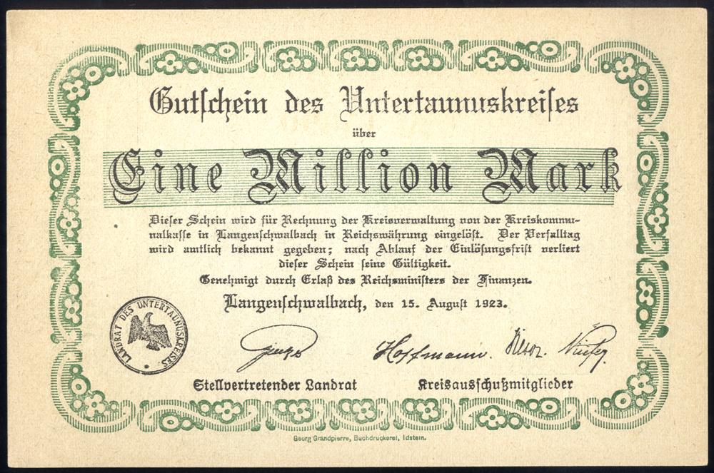 Germany - Notgeld 1923 Langenschwalbach Eine Million Marks