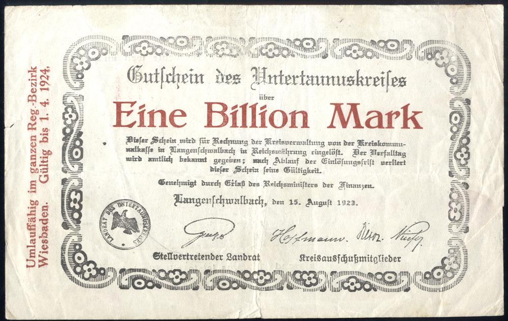 Germany - Notgeld 1923 Langenschwalbach (Teal) Eine Billion Marks