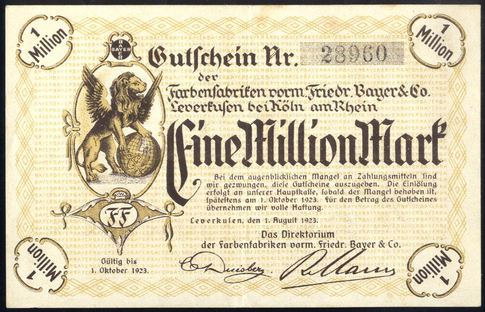 Germany - Notgeld 1923 Leverkusen Eine Million Marks