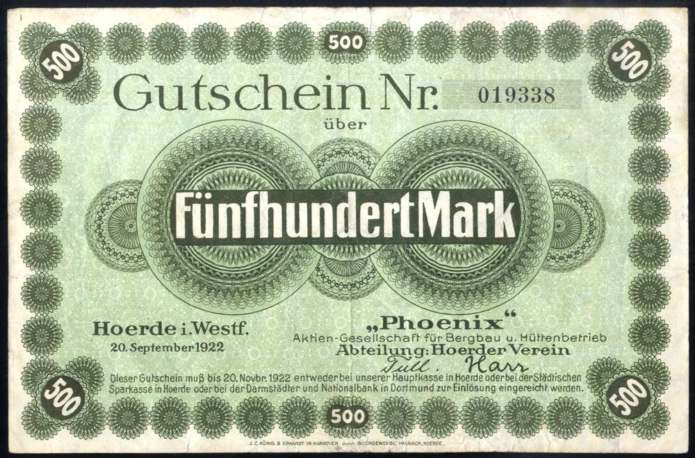 Germany - Notgeld 1923 Hoerde 500 Marks