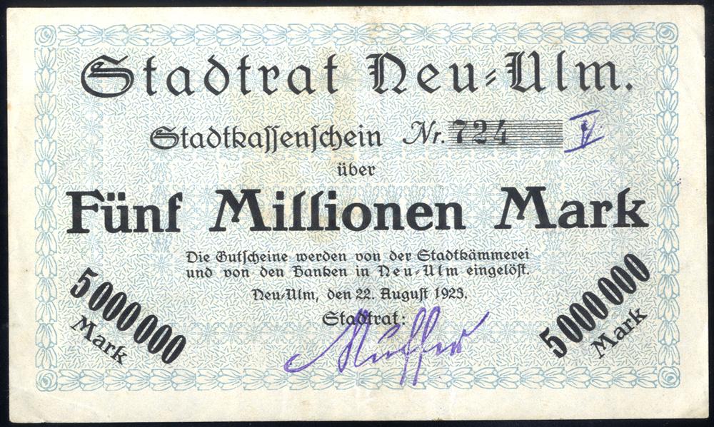 Germany - Notgeld 1923 Neu-Ulm Funf Millionen Marks