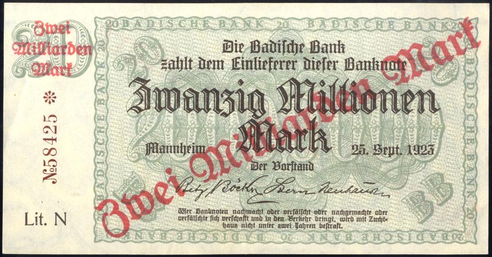 Germany - Notgeld 1923 Mannheim Zwanzig Millionen Marks