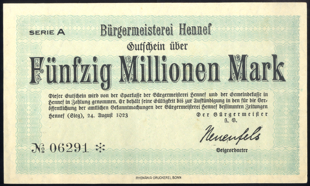 Germany - Notgeld 1923 Hennef Funfzig Millionen Marks