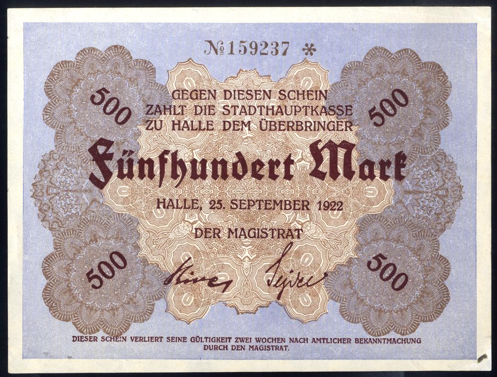 Germany - Notgeld 1923 Halle 500 Marks
