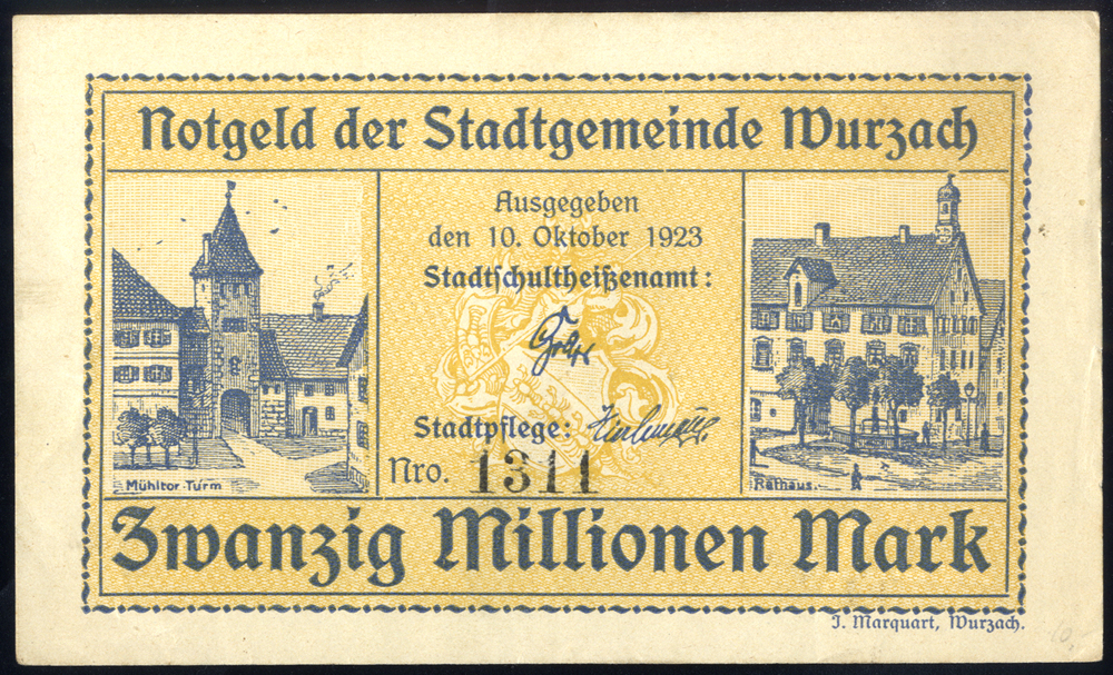 Germany - Notgeld 1923 Wurzach Zwanzig Millionen Marks