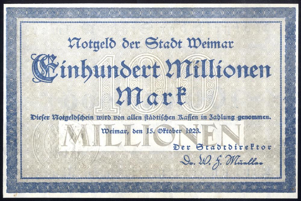 Germany - Notgeld 1923 Weimar 100 Millionen Marks