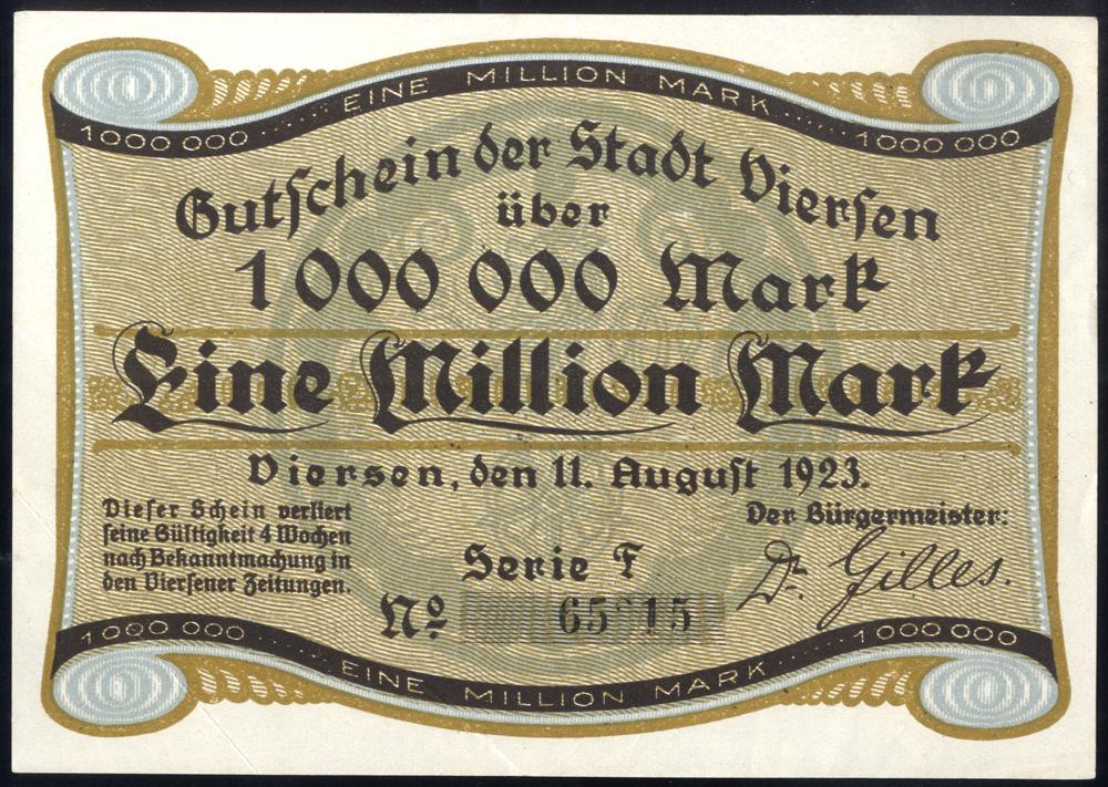 Germany - Notgeld 1923 Viersen Eine Million Marks