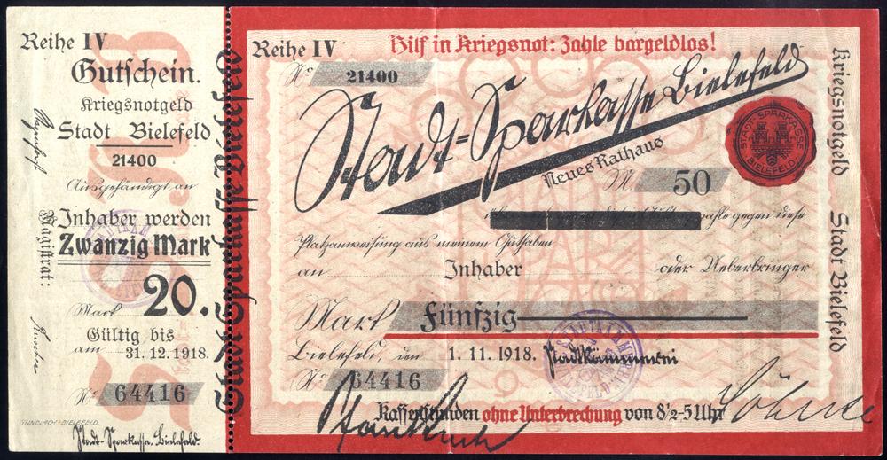 Germany - Notgeld 1918 Bielefeld 50 Mk + 20 Mk