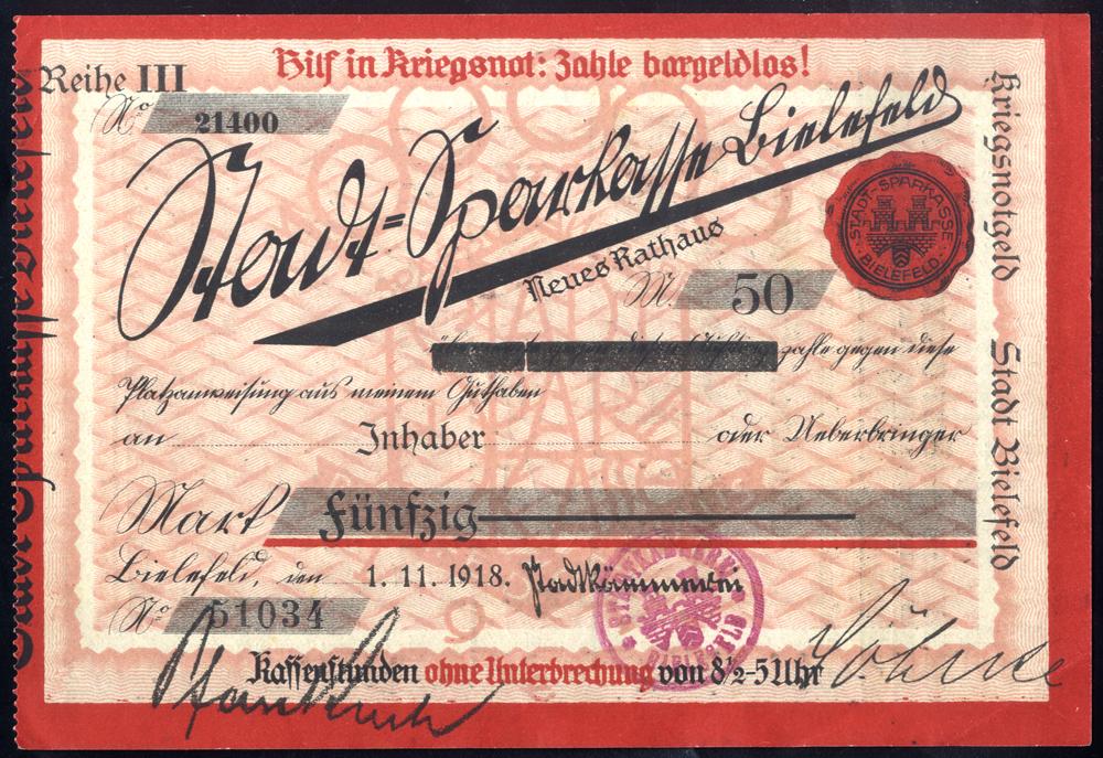 Germany - Notgeld 1918 Bielefeld 50 Marks