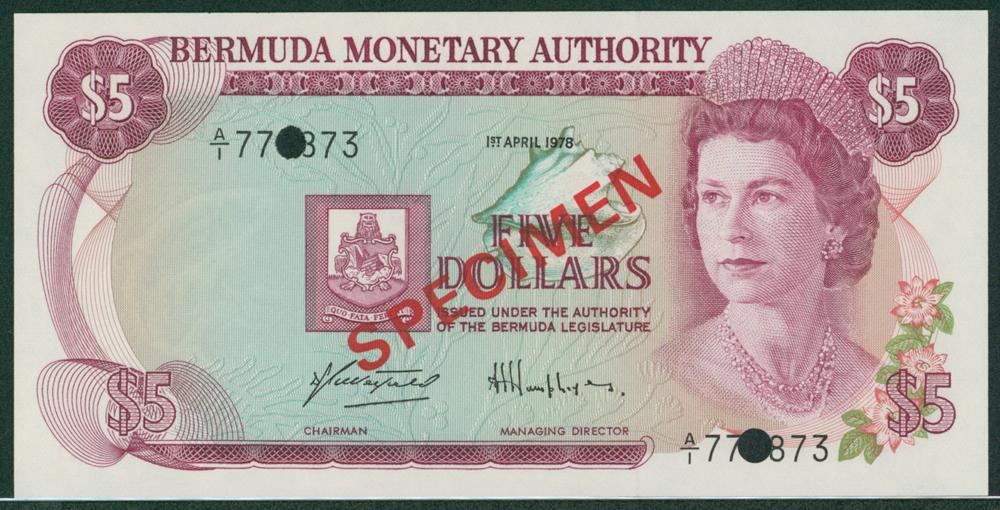 Bermuda 1978 $5 SPECIMEN