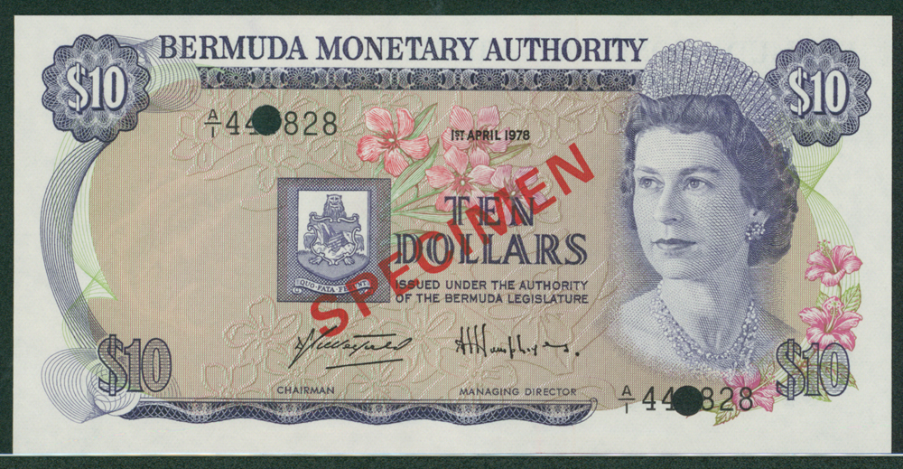 Bermuda 1978 $10 SPECIMEN