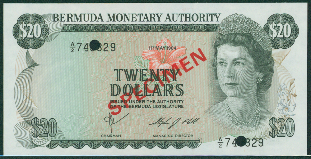 Bermuda 1982 $20 SPECIMEN