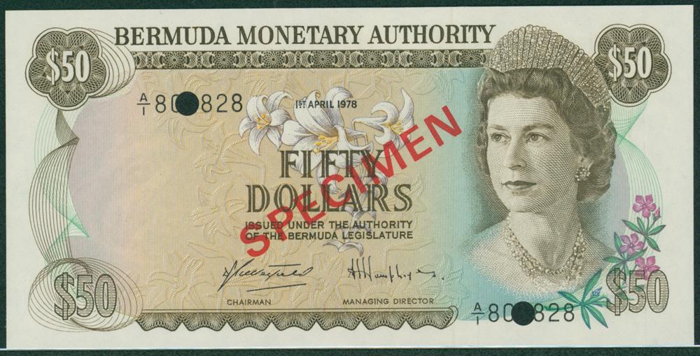 Bermuda 1978 $50 SPECIMEN