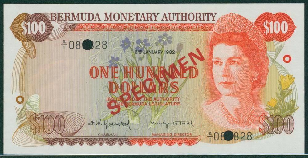 Bermuda 1982 $100 SPECIMEN