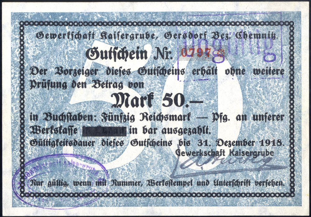 Germany - Notgeld 1918 Gersdorf 50 Marks