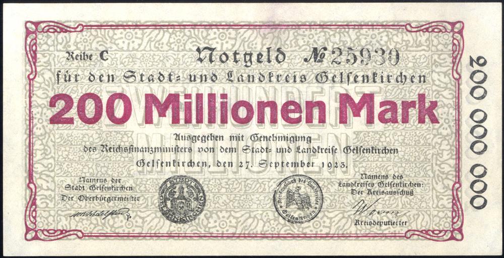 Germany - Notgeld 1923 Gelsenkirchen 200 Millionen Marks