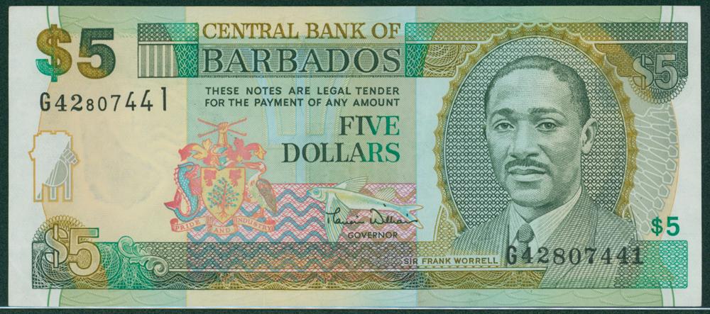 Barbados 2000 $5 Frank Worrell