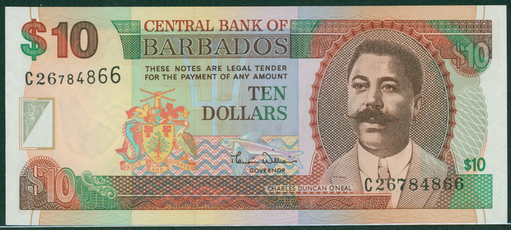 Barbados 2000 $10 O'Neal