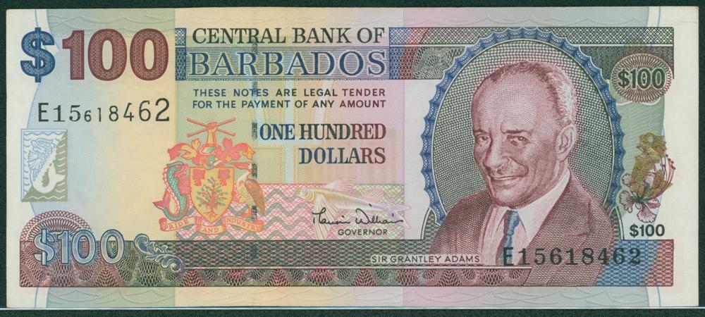Barbados 2000 $100 Adams
