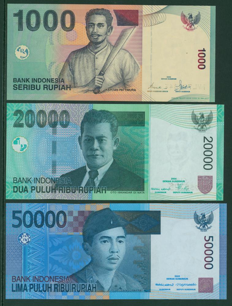 Indonesia 2000 1000r, 2004 20,000r, 2005 50,000r