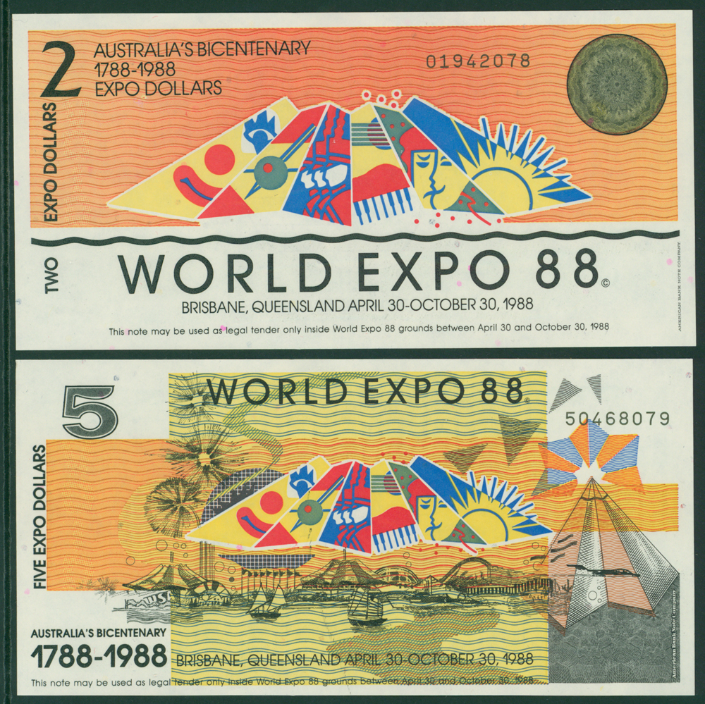 Australia 1988 Bicentenary World Expo $2 & $5