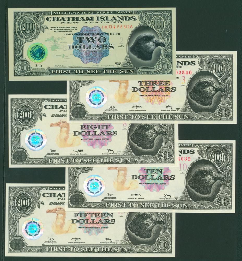 New Zealand - Chatham Islands 2000-2002 $2, $3, $8, $10 & $15
