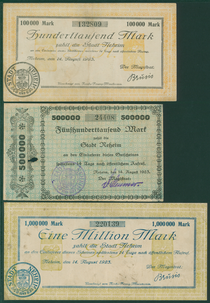 Germany - Notgeld 1923 Neheim 100,000Mk, 500,000Mk & 1 Million Mk