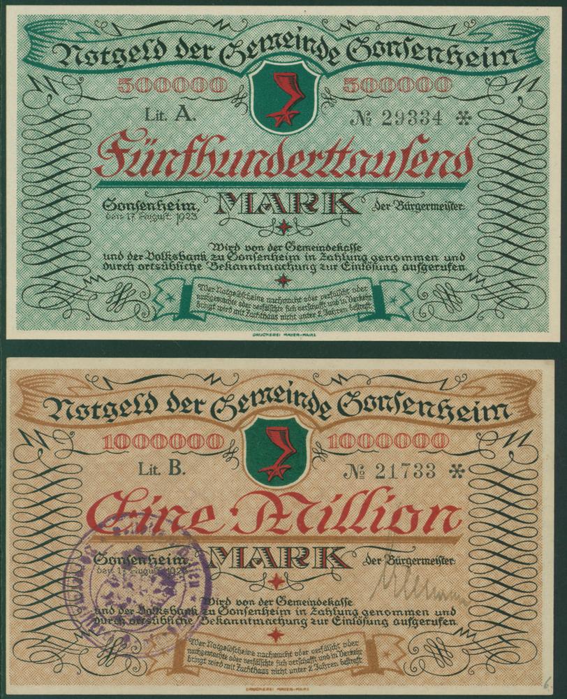 Germany - Notgeld 1923 Gonsenheim 500,000Mk & 1 Million Mk