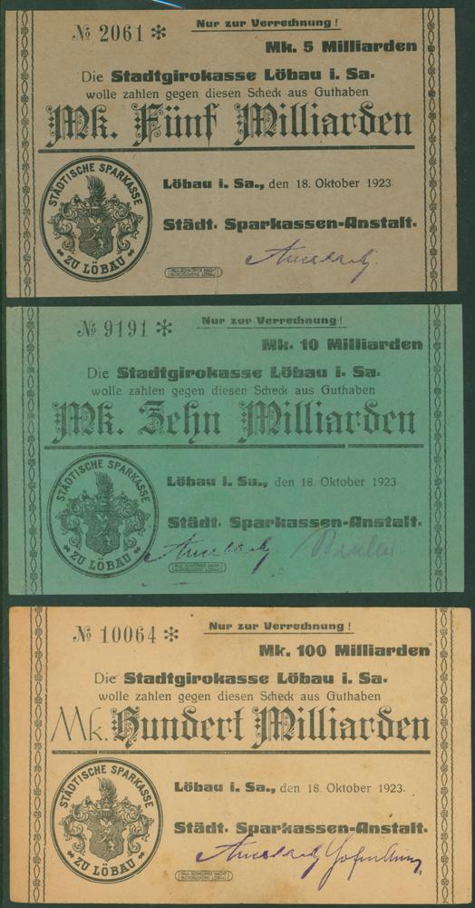 Germany - Notgeld 1923 Lobau 5 Milliarden, 10 Milliarden & 100 Milliarden Marks