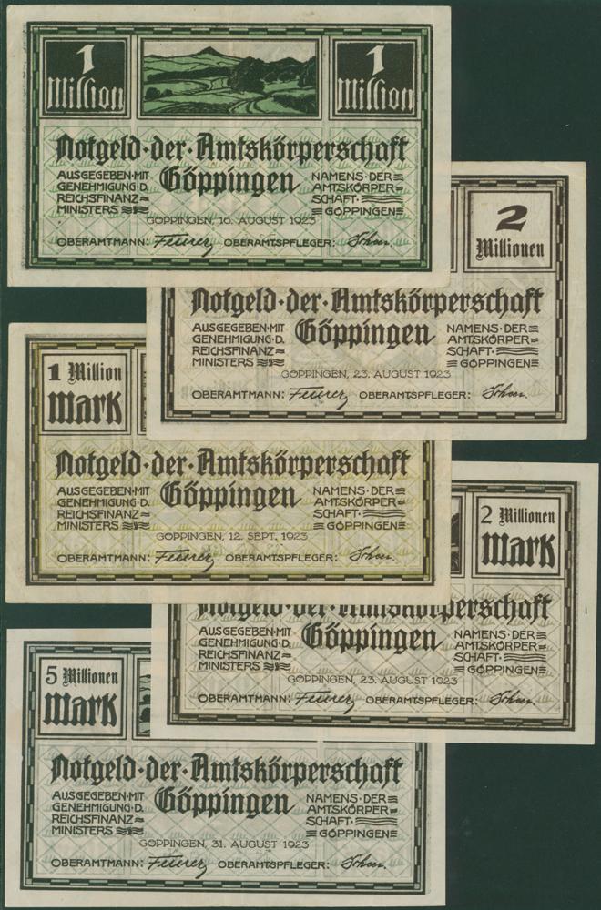 Germany - Notgeld 1923 Goppingen 1 to 5 Million Marks