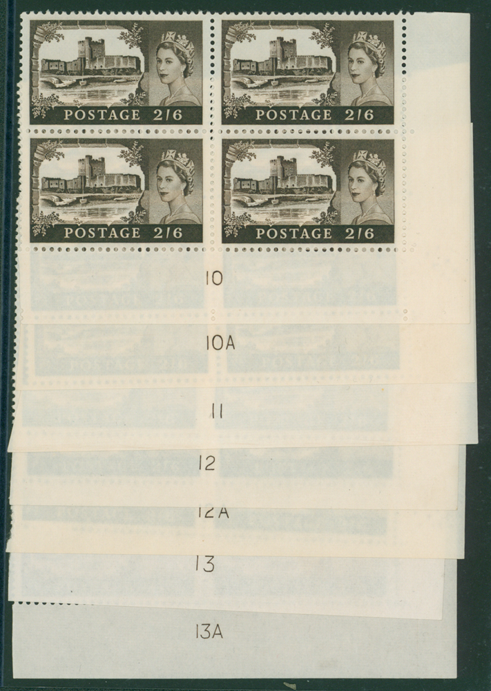 1968 Bradbury 2/6d castle Plate blocks of four UM