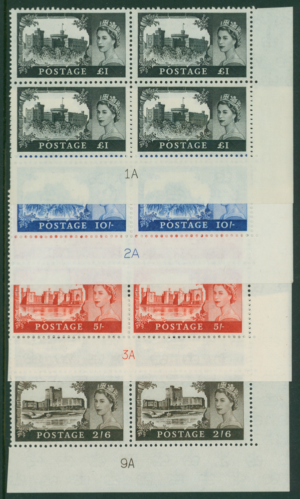 1963 Bradbury crowns castle set of four in Plate blocks UM