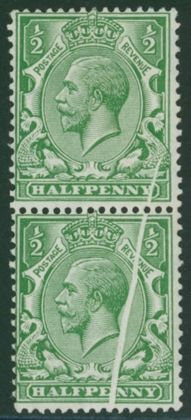1912 Royal Cypher ½d green vertical M pair