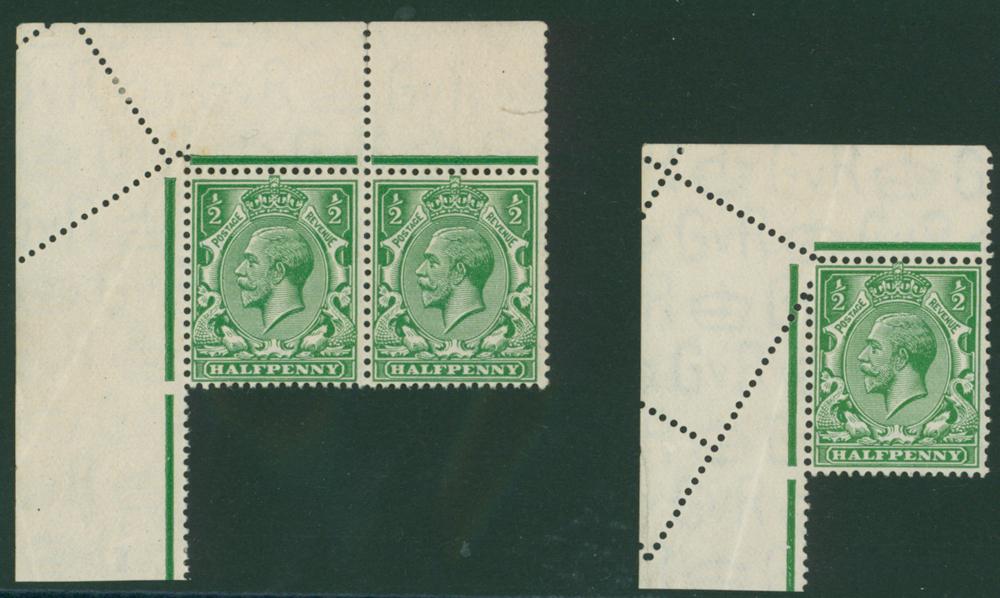 1924 Block Cypher ½d green corner marginal UM